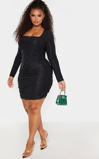 Plus Black Glitter Ruched Mini Dress