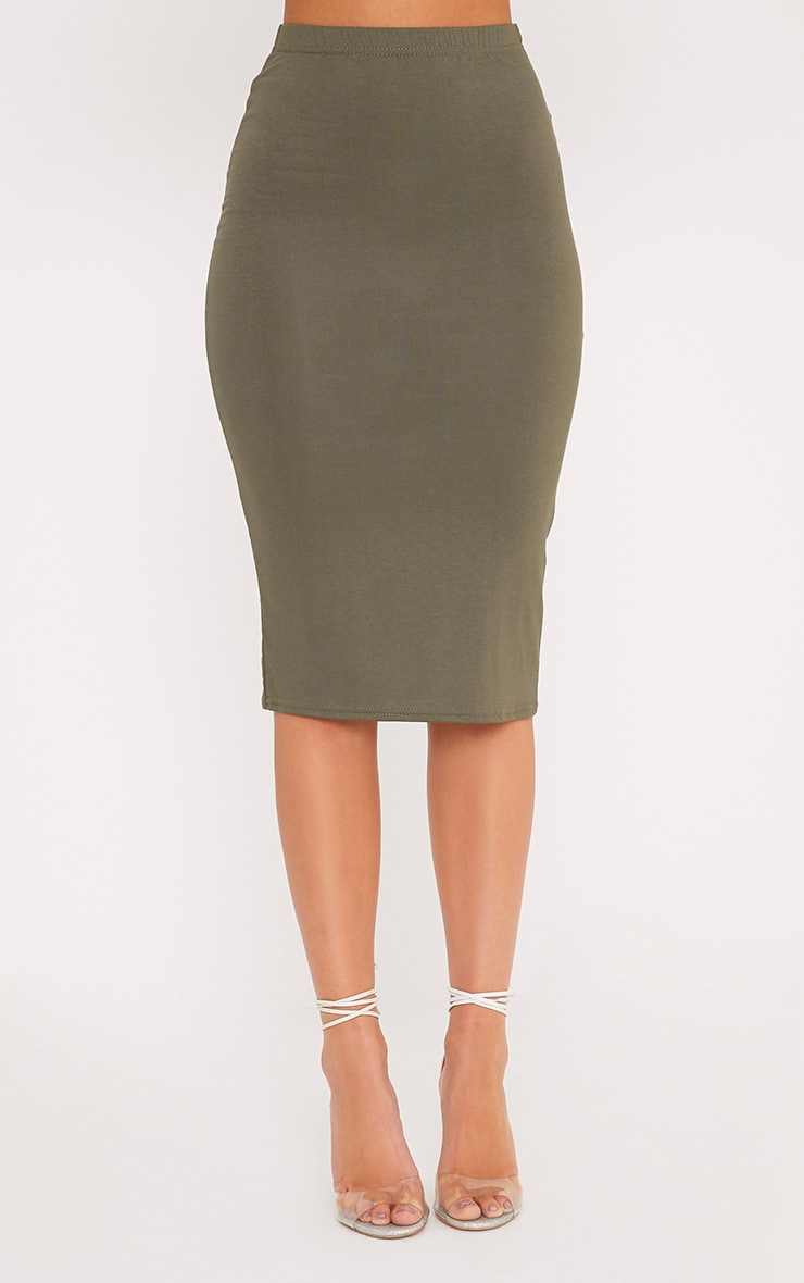 Basic Khaki Midi Skirt 2