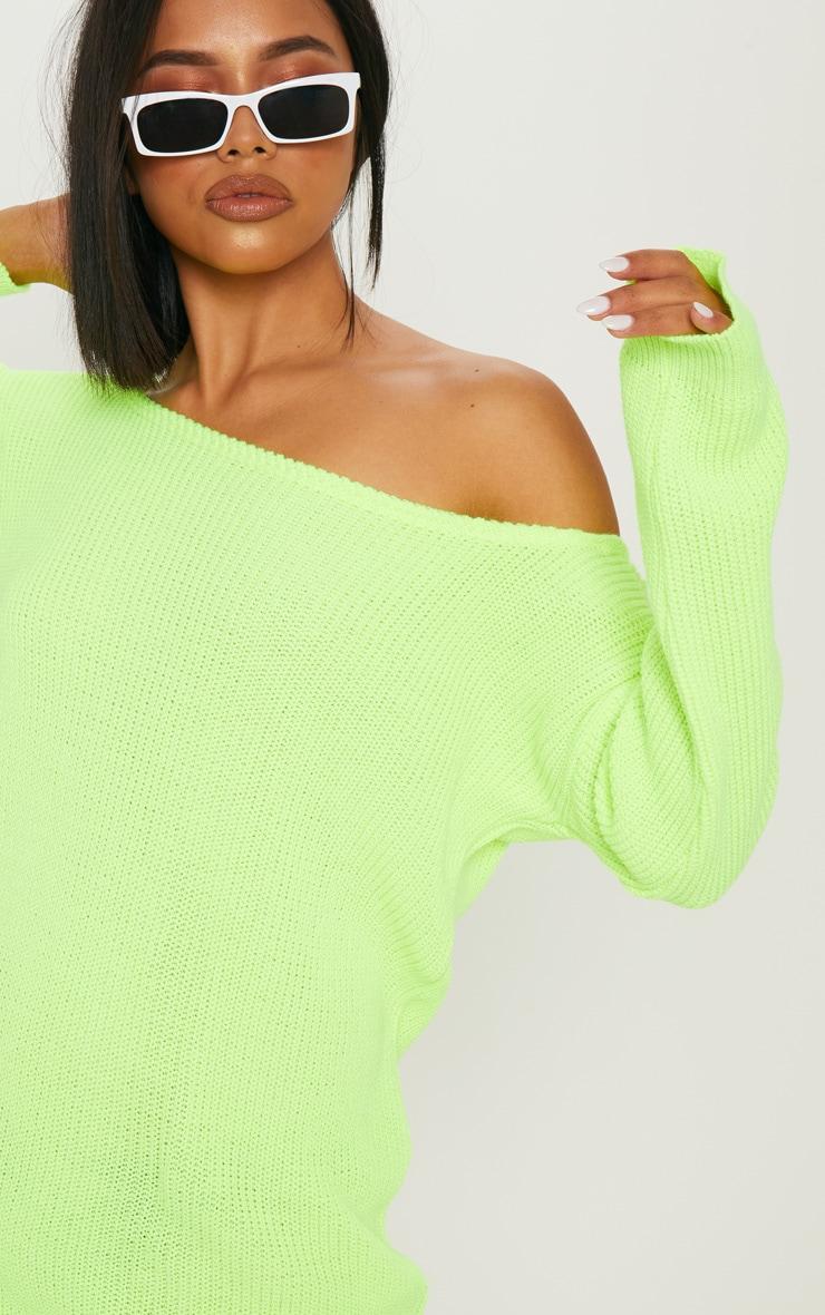 Neon Lime Off The Shoulder Jumper Dress 5