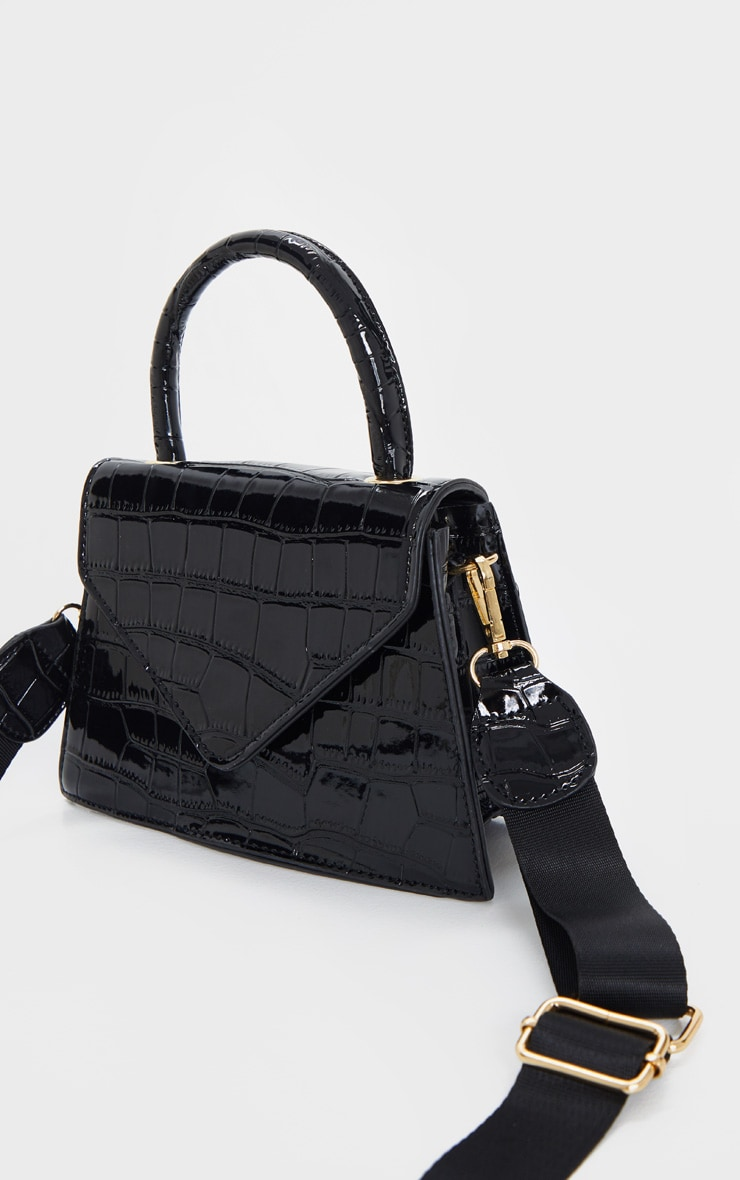 Black Trapeze Shape Cross Body Bag 3