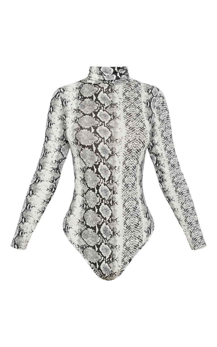 Grey Snake Print Roll Neck Long Sleeve Bodysuit 3