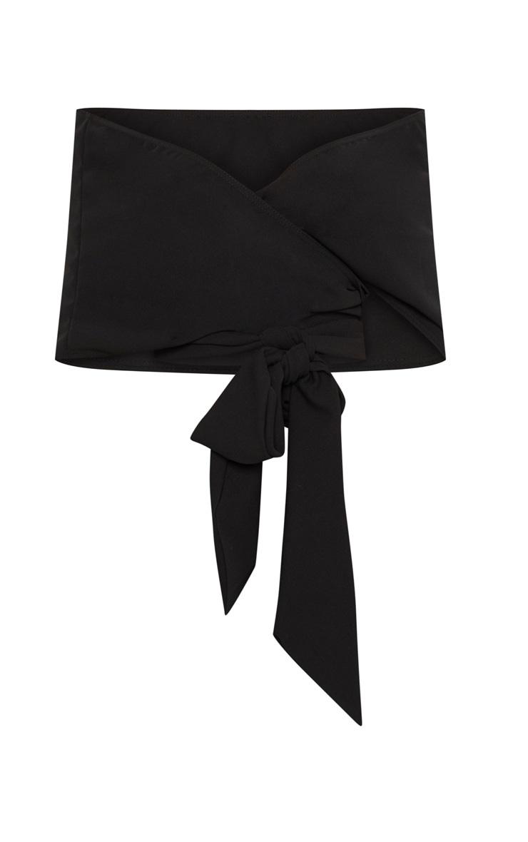 Black Bandeau Wrap Front Crop Top 3