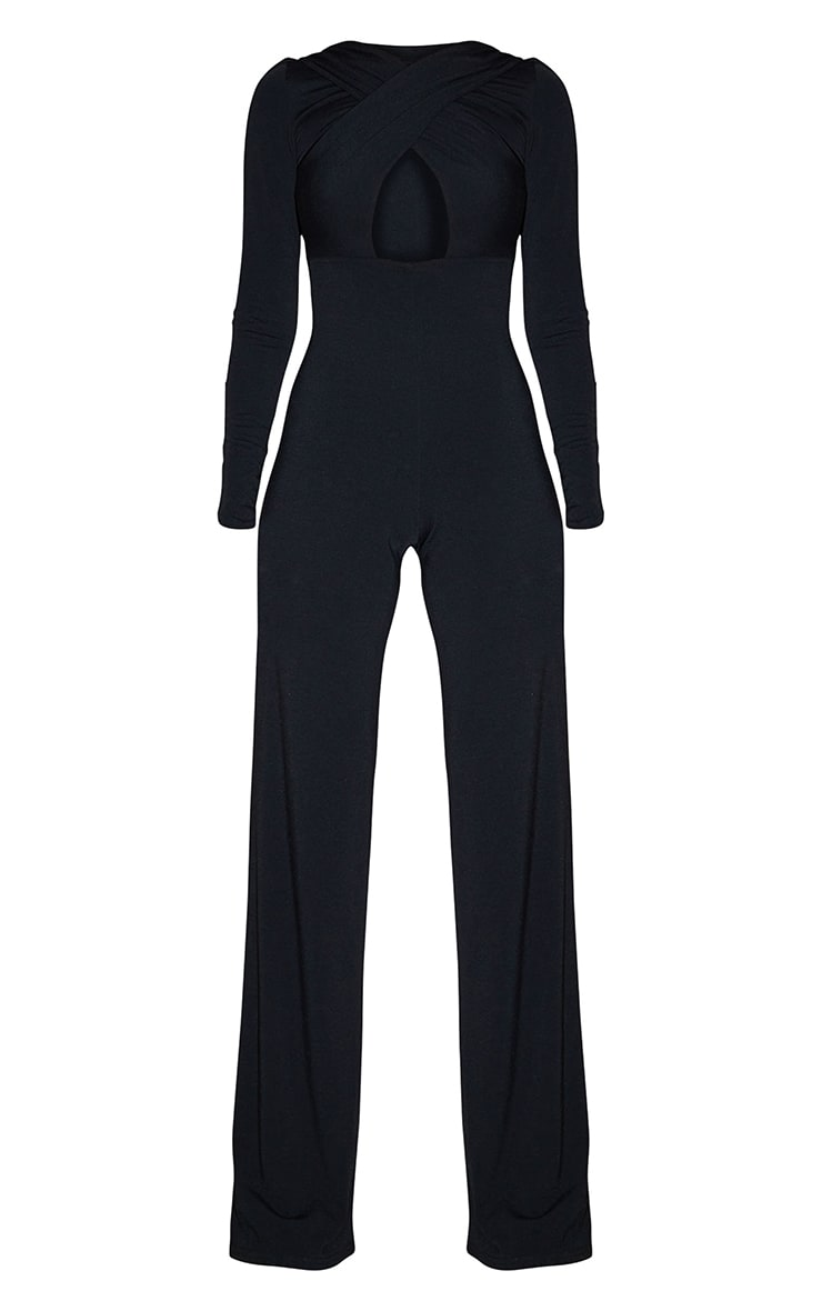 Recycled Tall Black Contour Jersey Under Bust Wide Leg Jumpsuit 5