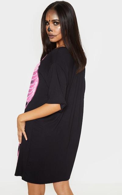 Black Neon Skeleton Oversized T Shirt Dress