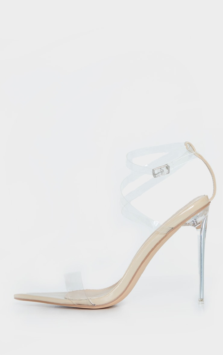Nude Point Toe Clear Heel Clear Strap Sandal 3
