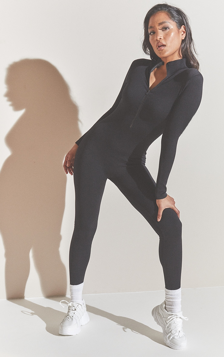 Black Structured Contour Rib Zip Jumpsuit 1