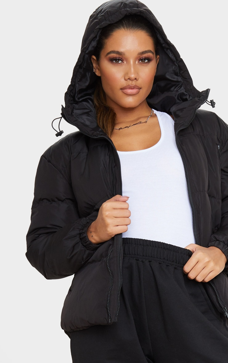 Black Hooded Zip Up Puffer Jacket 5