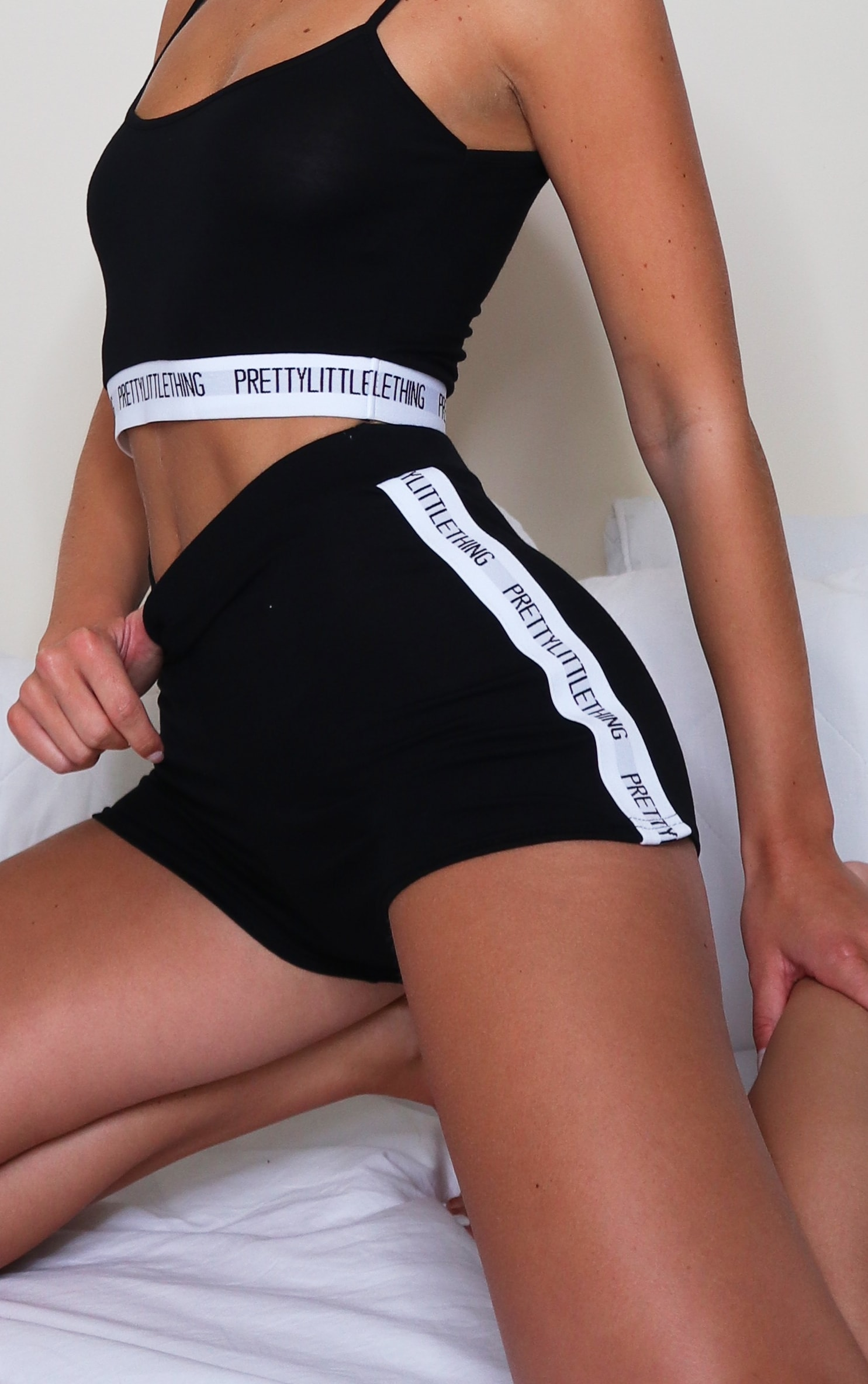 PRETTYLITTLETHING Black Tape Lounge Set 3