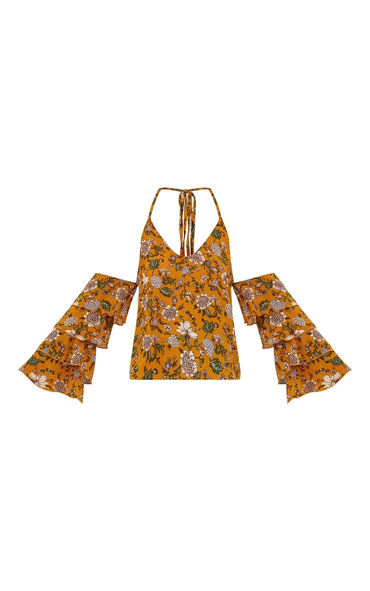 Mustard Ditsy Floral Ruffle Sleeve Halterneck Blouse 3