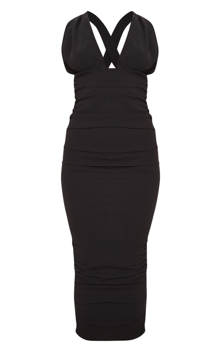 Black Deep Plunge Ruched Midaxi Dress 3