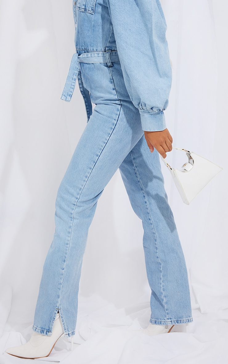 Petite Bleach Wash Balloon Sleeve Denim Split Hem Jumpsuit 4