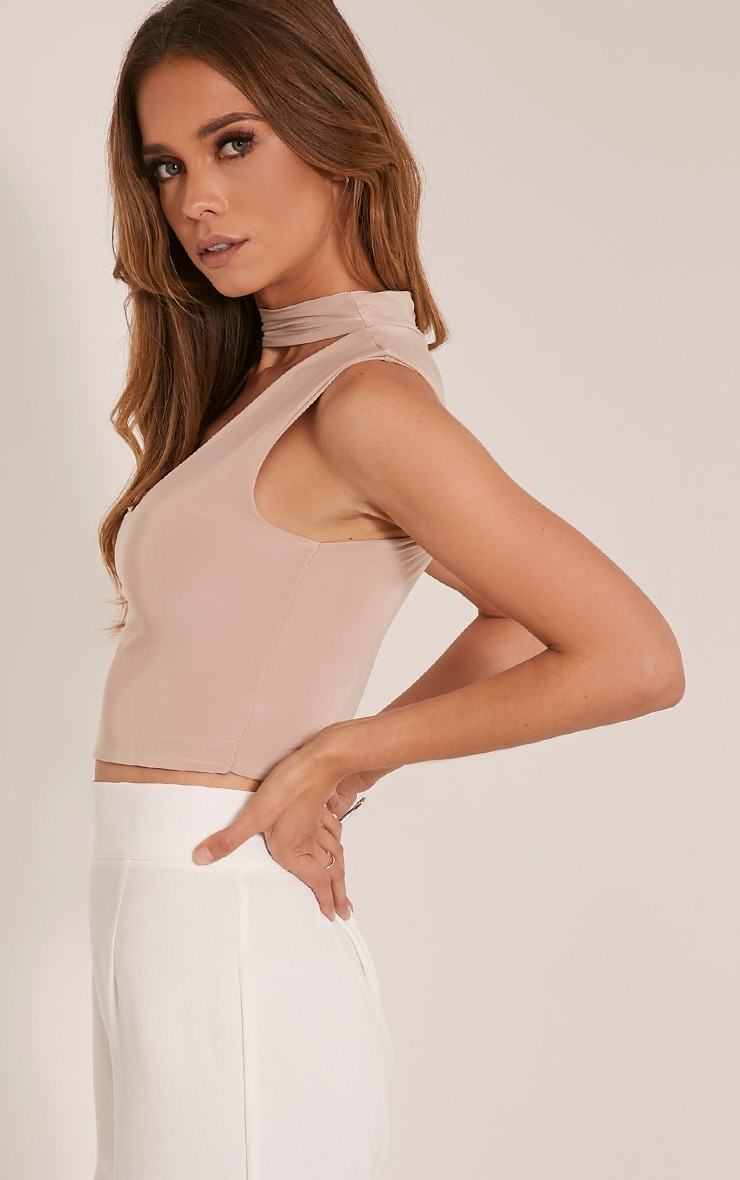 Melrose Stone Cut Out Neck Slinky Crop Top 4