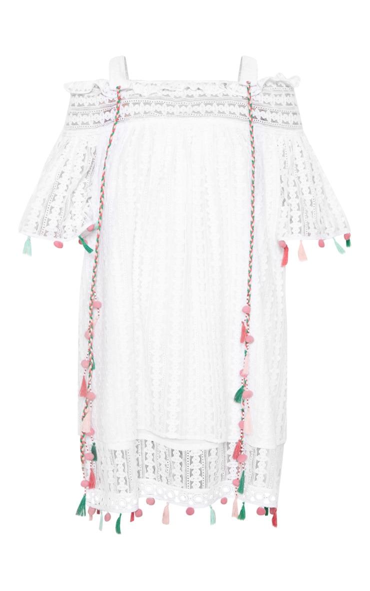 White Strappy Crochet Trim Pom Pom Smock Dress 3