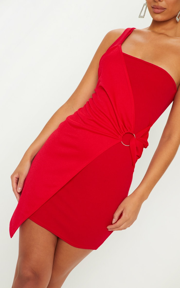 Red One Shoulder Ring Detail Bodycon Dress 5