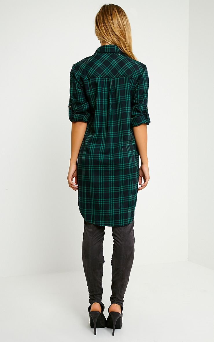 Bertram Green Checked Shirt Dress 2