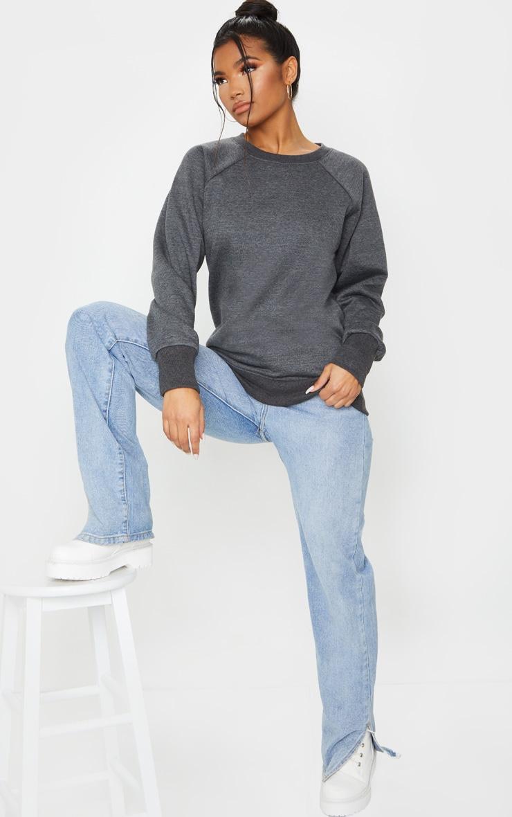 Basic Charcoal Grey  Crew Neck Sweater 1