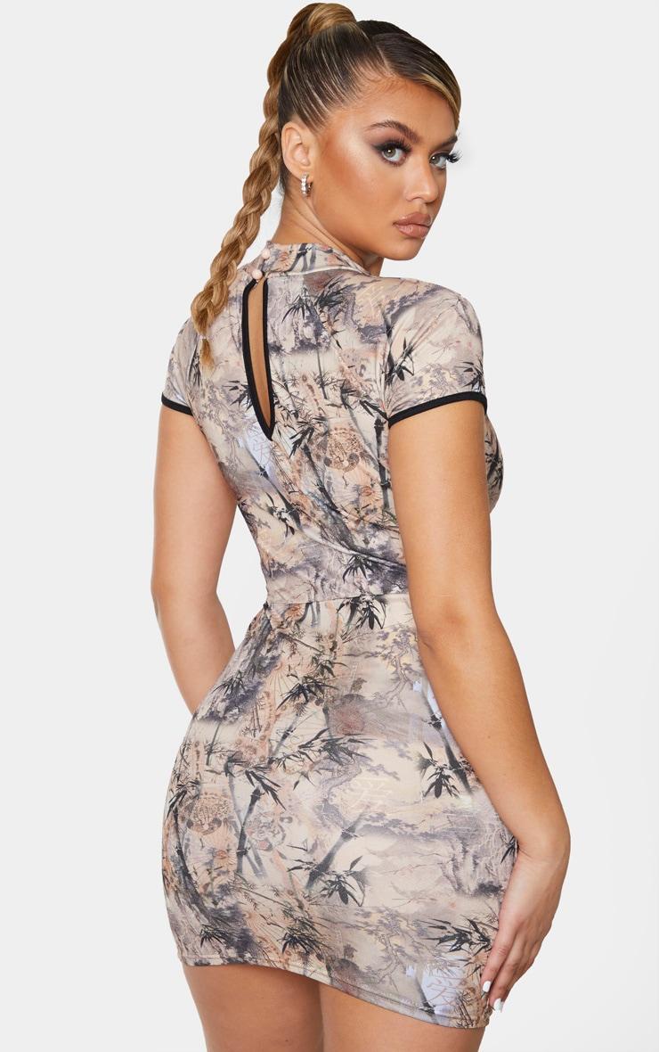 Stone Oriental Print High Neck Binding Oriental Bodycon Dress 2