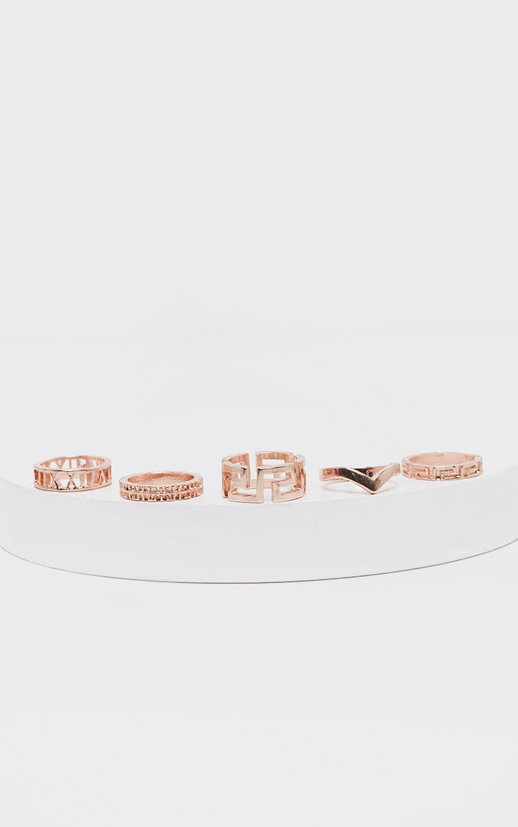 Rose Gold Roman Multi Shape Five Set Ring Pack      3