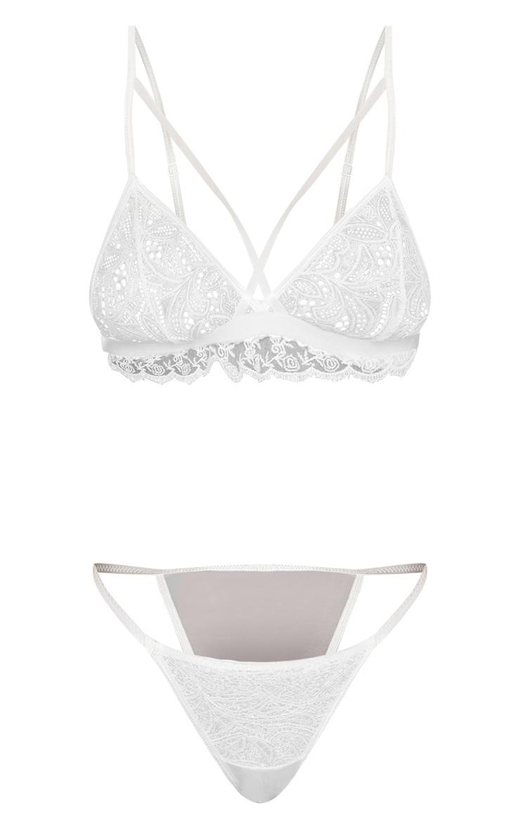 White Paisley Lace Bra & Panties Set 3