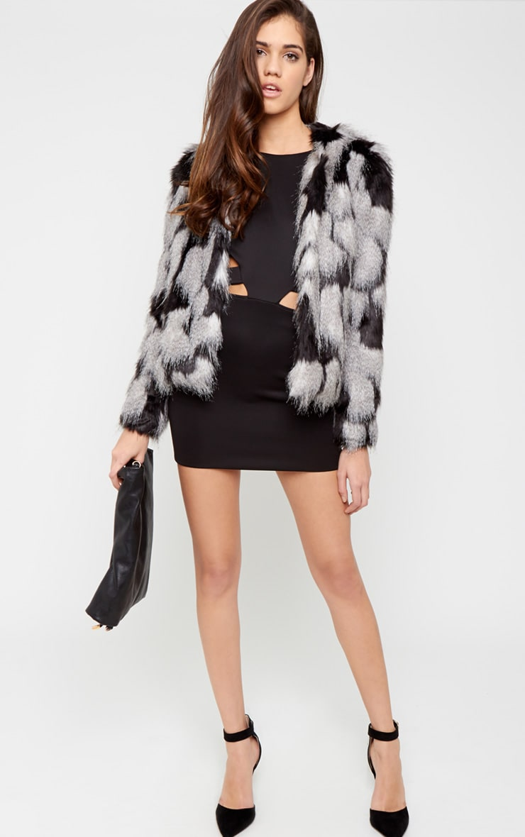 Amia Grey Fur Cropped Coat 3
