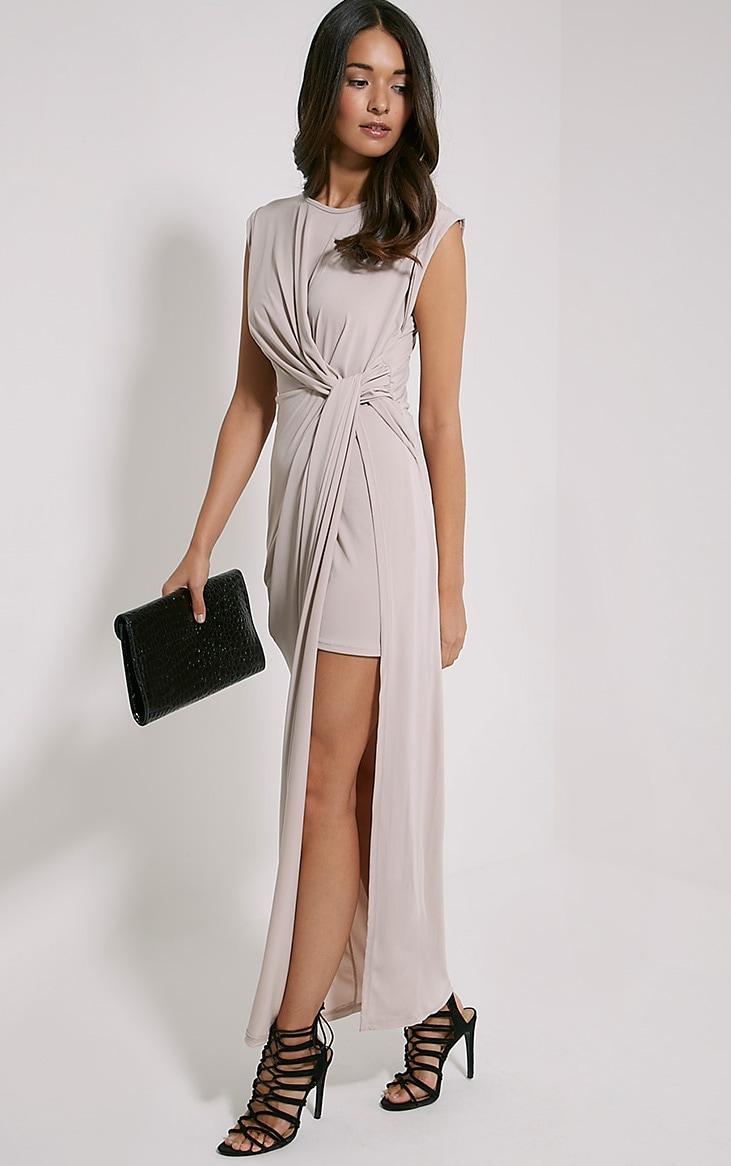 Reeta Nude Twist Front Maxi Dress 3