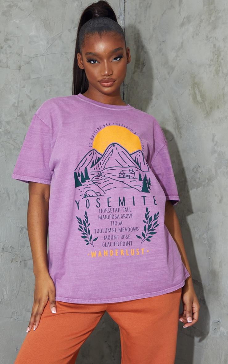 Mauve Wanderlust Back Printed Washed T Shirt 1