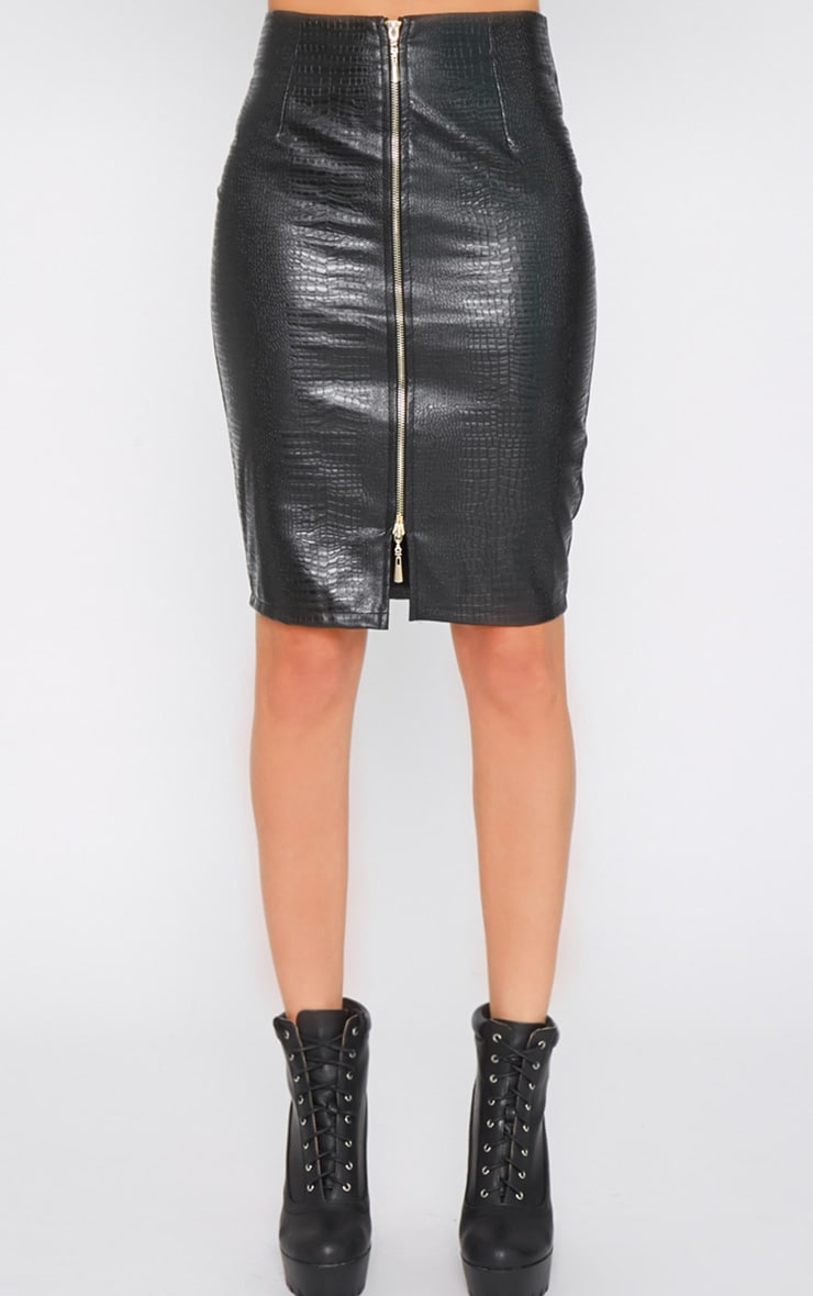 Fiorle Black Snake Skin Zip Front Skirt 3