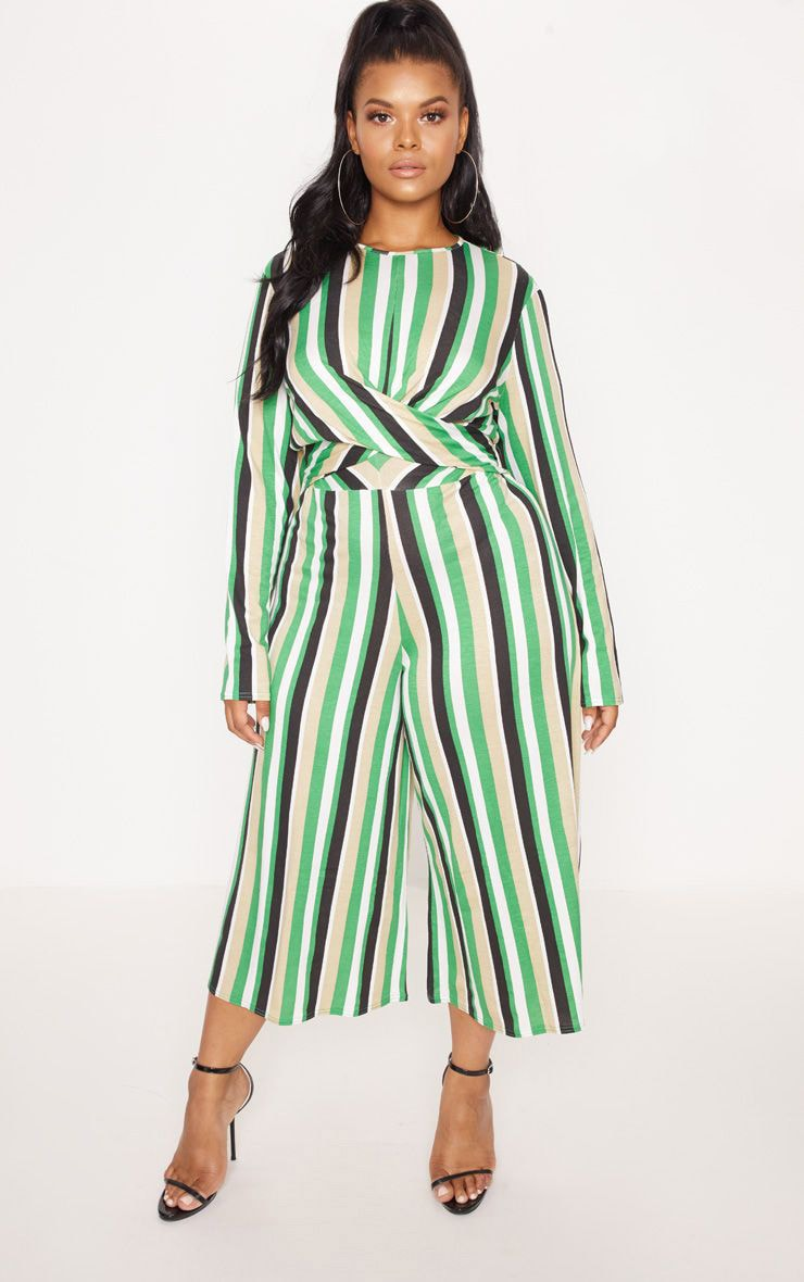 Plus Green Twist Front Stripe Culotte Jumpsuit 1