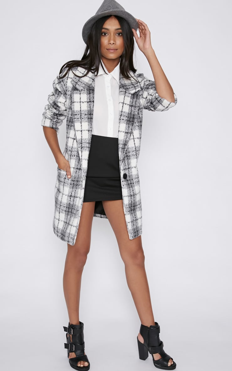 Ramsha Grey Checked Boyfriend Coat 4