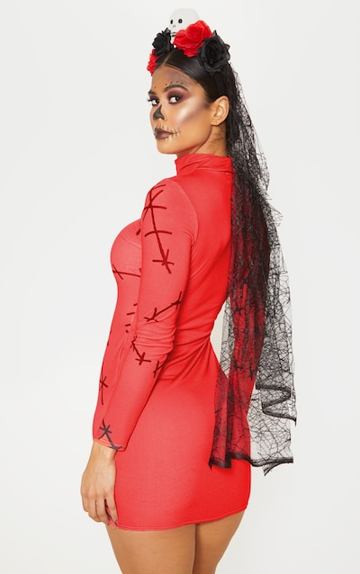 Red Stitch Print High Neck Long Sleeve Bodycon Dress