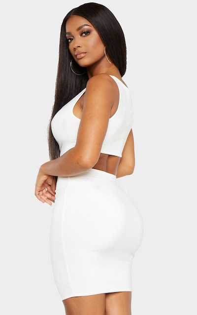 Shape Cream Ruched Front Backless Dress