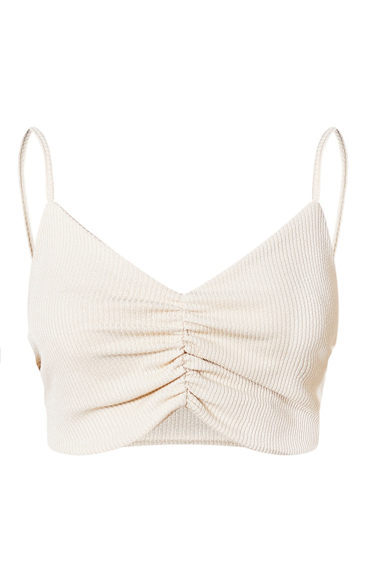 Cream Recycled Wide Rib Ruched Bralet 5