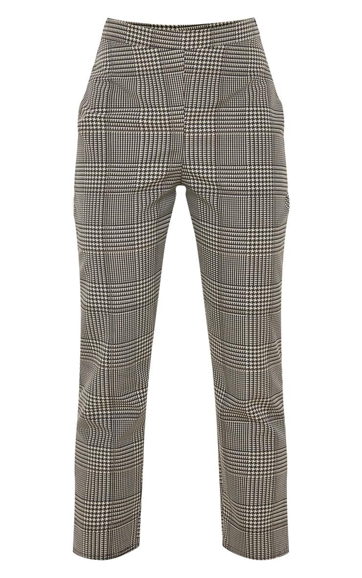 Pantalon cigarette en maille tissée à carreaux gris 3