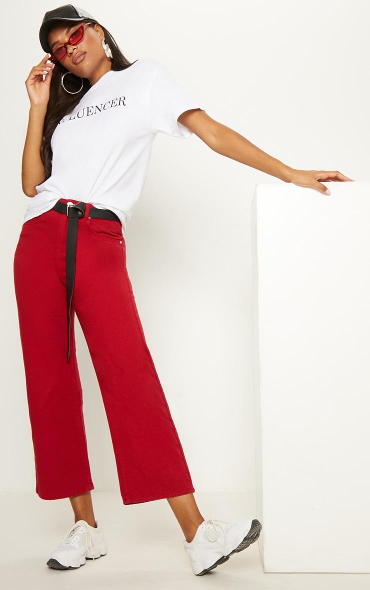 Burgundy Wide Leg Utility Jeans