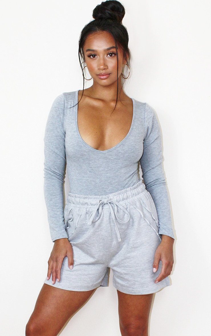 Petite Grey Frill Sweat Detail Short 1