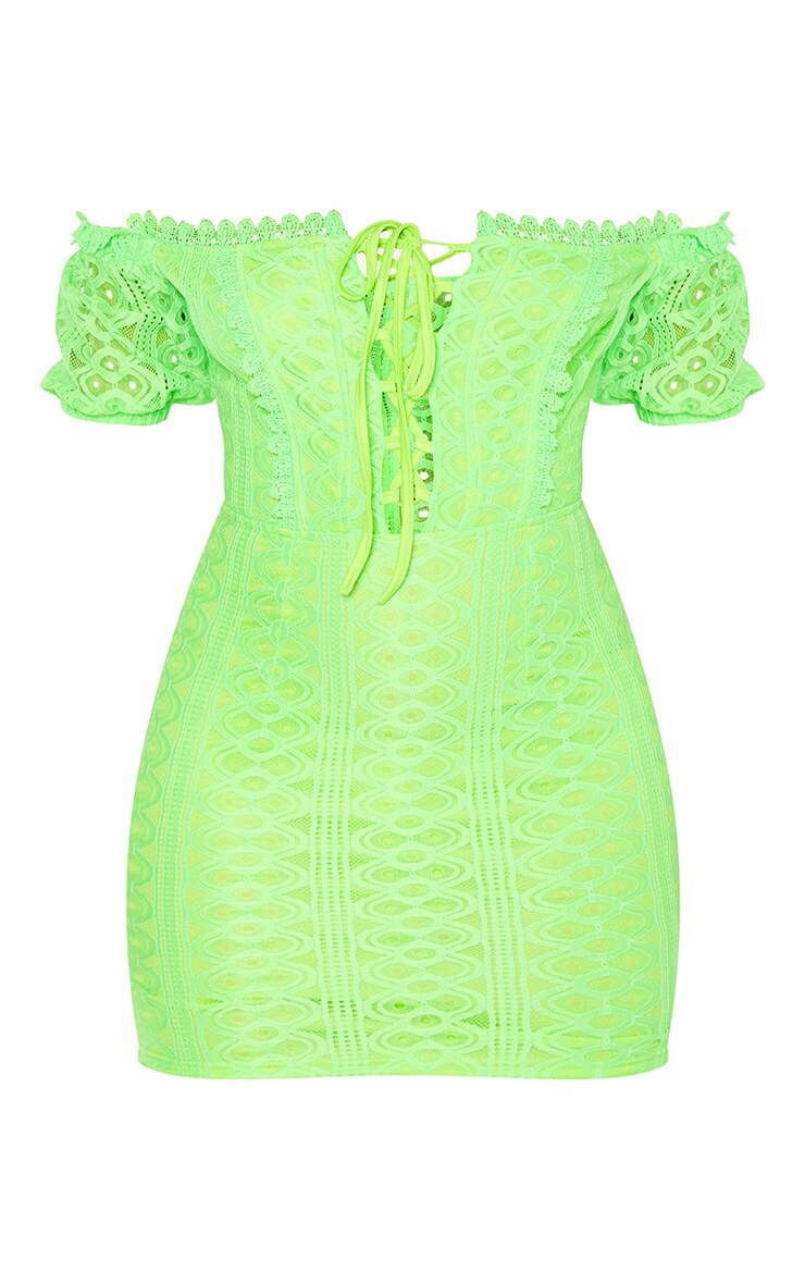 Neon Lime Lace Up Bardot Lace Bodycon Dress 3