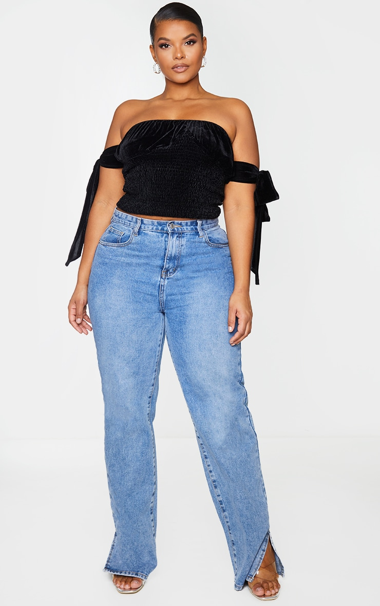 Plus Black Shimmer Sheared Detail Bardot Crop Top 1