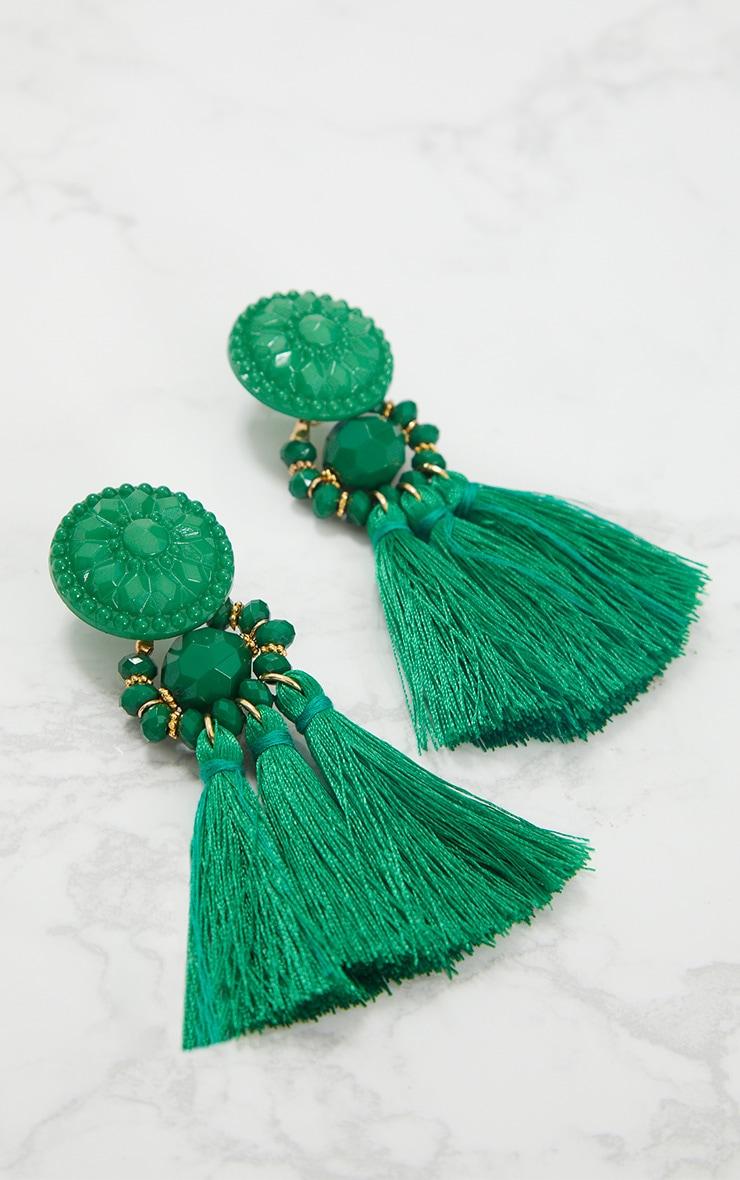 Bright Green Acrylic Bead Tassel Earrings 4