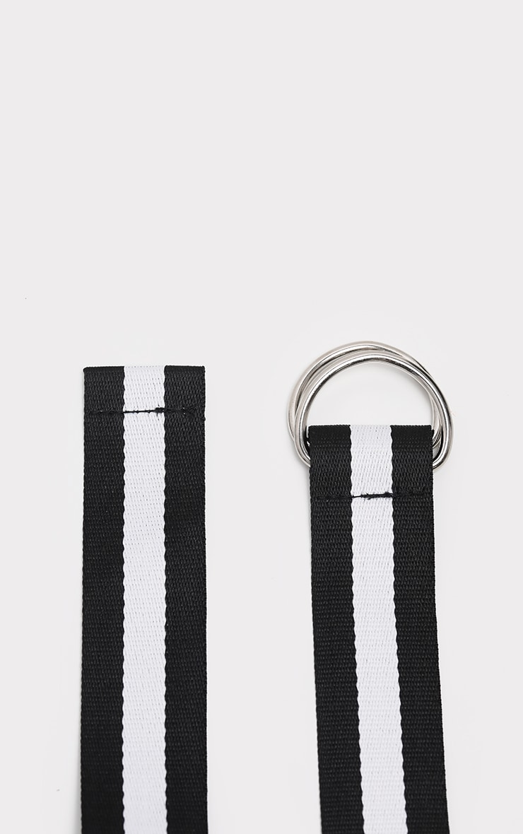 Black And White Striped Tape Belt  3