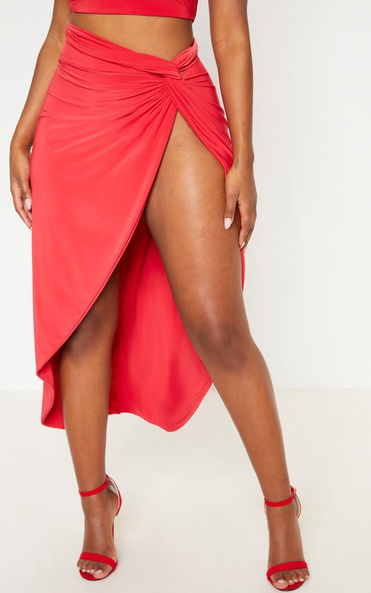 Shape Red Knot Front Split Maxi Skirt 2