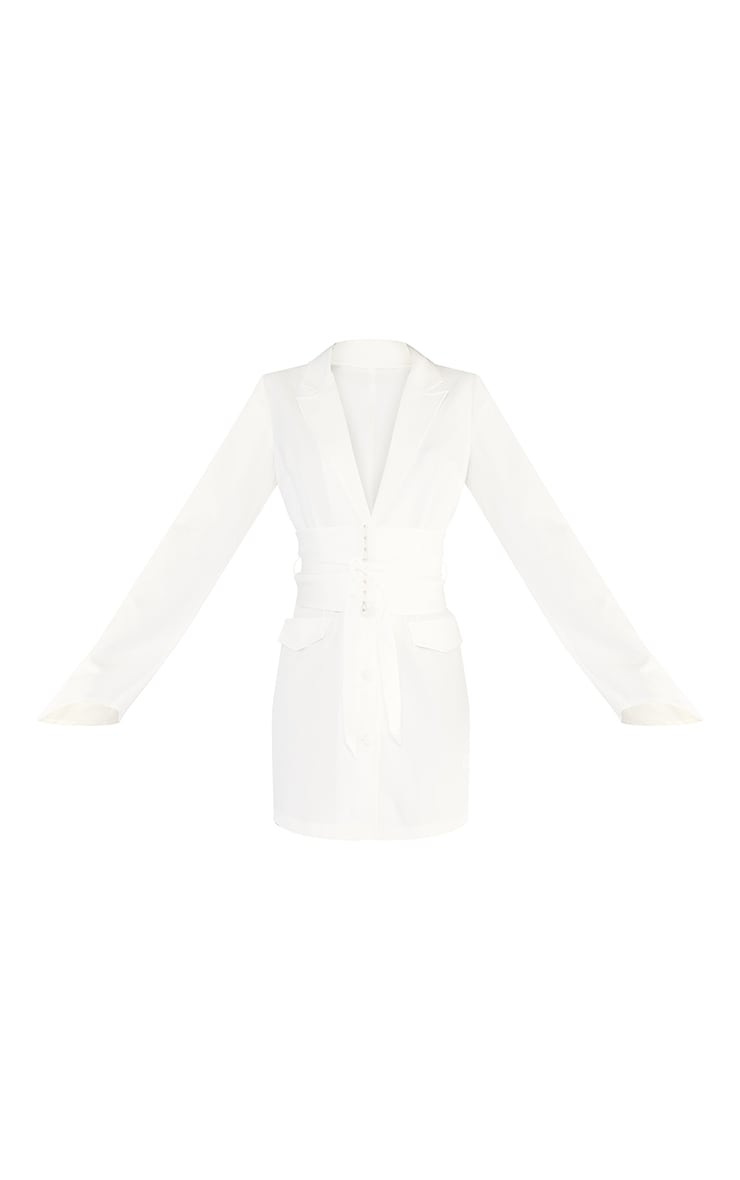 Tall  White Long Sleeve Corset Belted Blazer Dress 5
