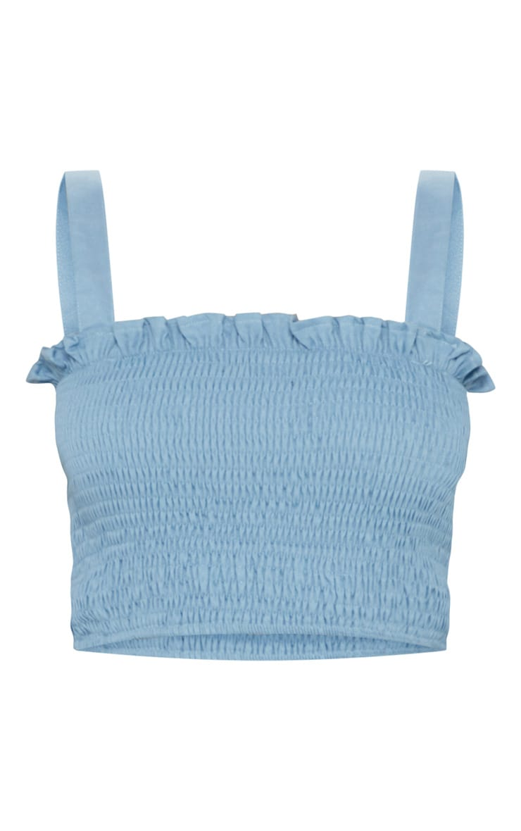 Petite Dusty Blue Shirred Strappy Top 3