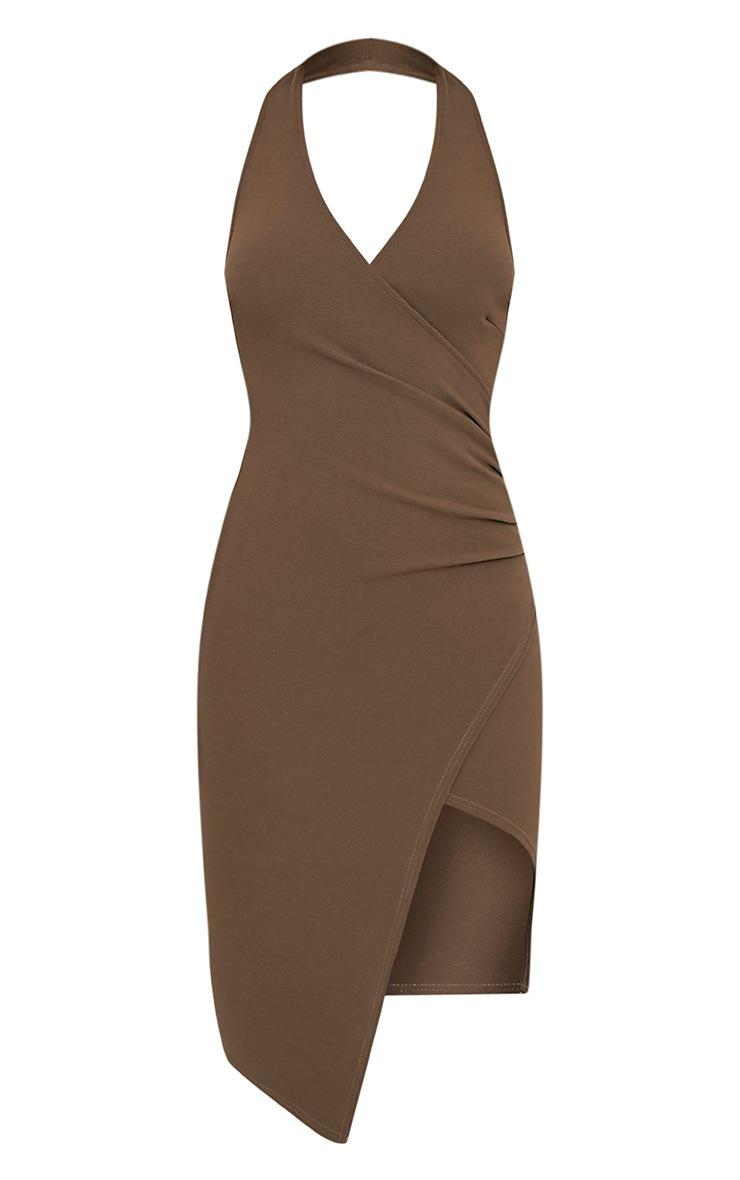 Fern Khaki Halterneck Wrap Front Crepe Midi Dress 3