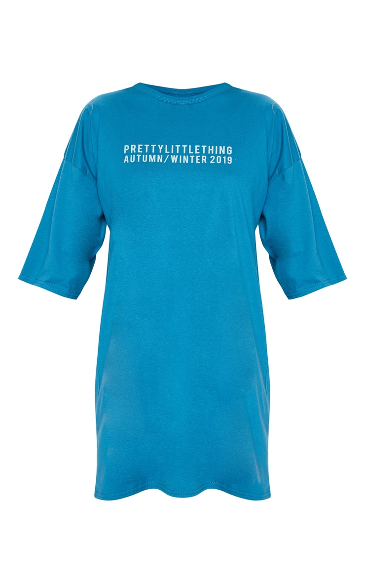 PRETTYLITTLETHING Petrol Blue Aw19 Oversized T-Shirt Dress 3