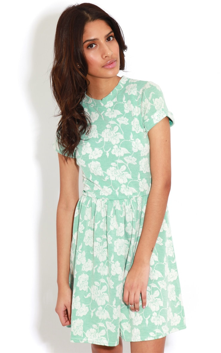 Eloise Mint Floral Dropped Hem Dress 1