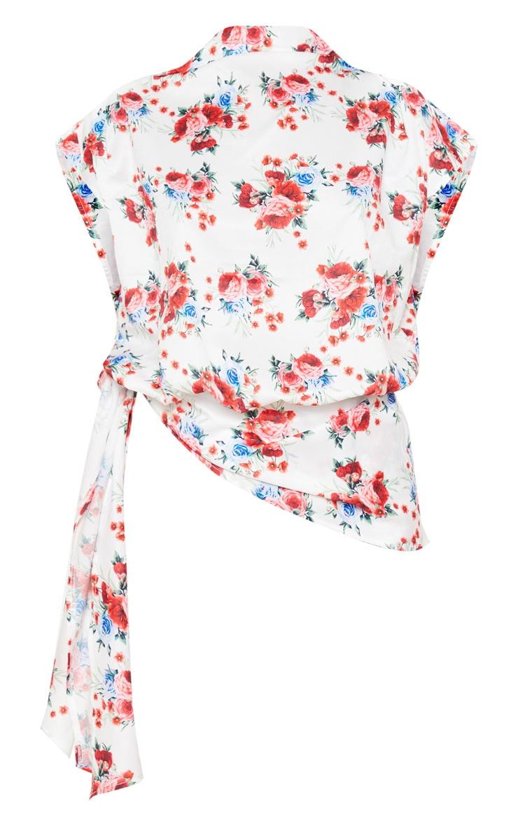 White Rose Print Woven Tie Detail Blouse 3