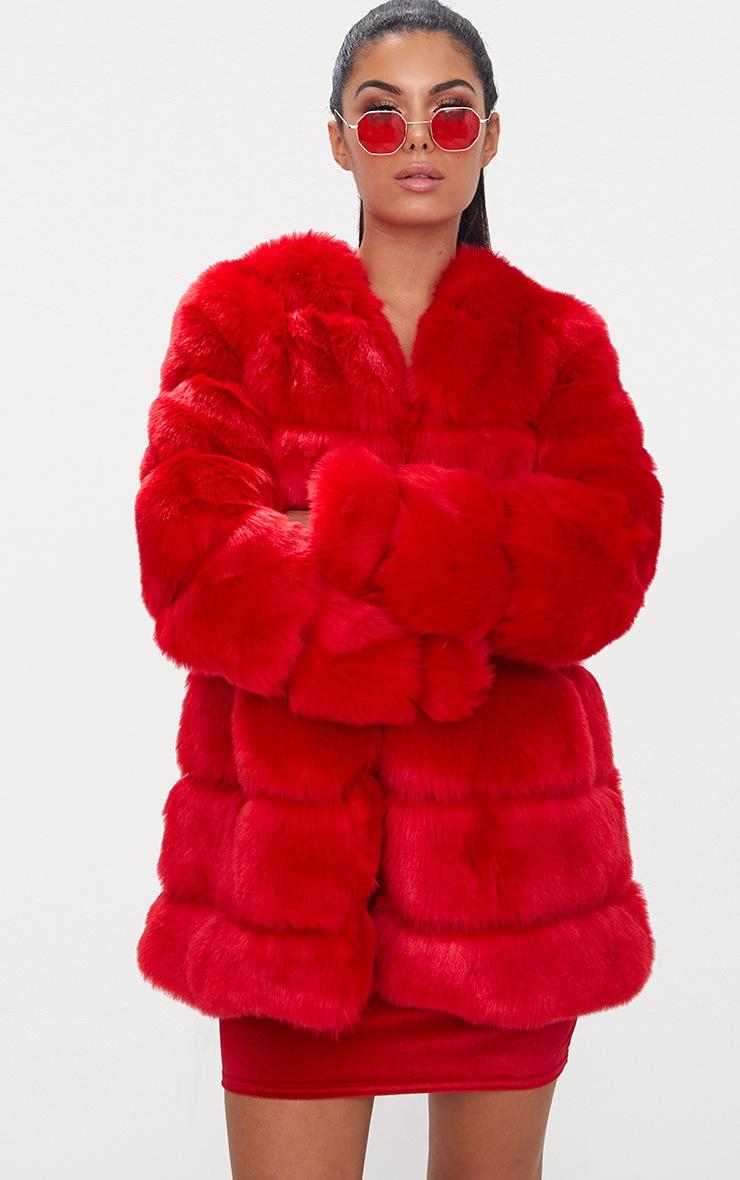 Red Faux Fur Bubble Coat 2