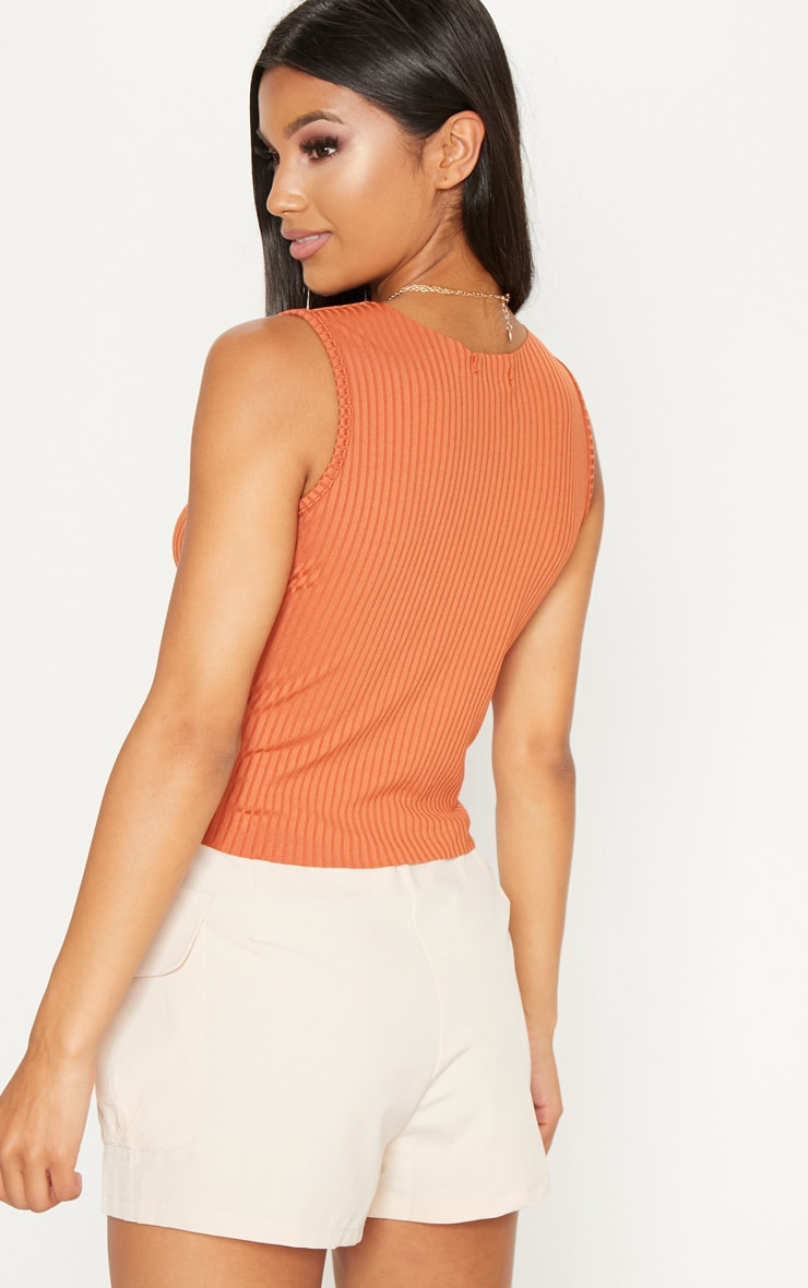 Burnt Orange Raw Edge Tank Top  2