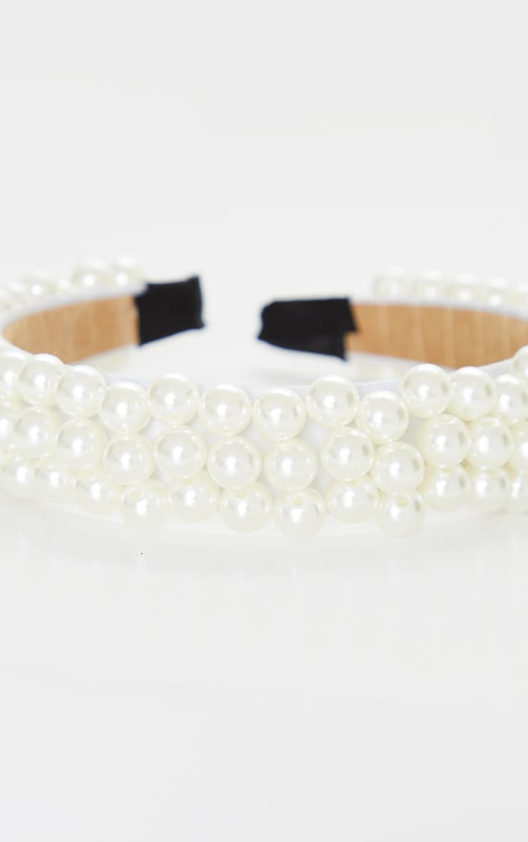 White Pearl Embellished Alice Headband 3