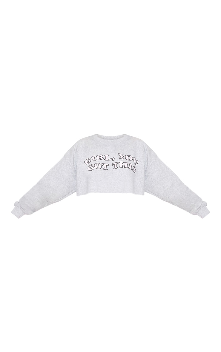 Girl, YOU GOT THIS Cropped Sweater Grey 4